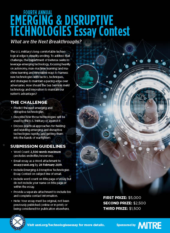 Emerging  Disruptive Technologies Essay Contest  Us Naval Institute About The Emerging  Disruptive Technologies Essay Contest Essay Reflection Paper Examples also Topics For Essays In English  Technical Writing Services