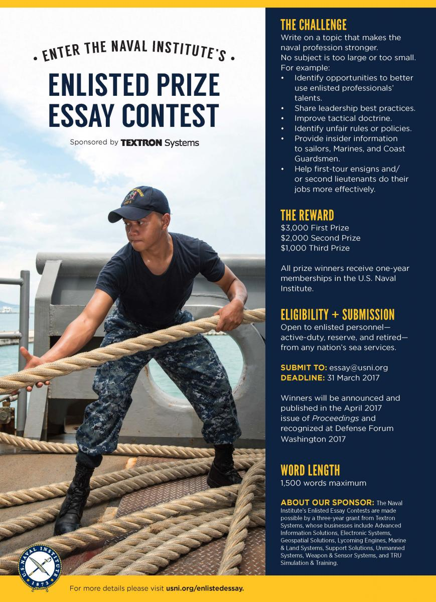 enlisted prize essay contest u s naval institute sponsored by textron systems