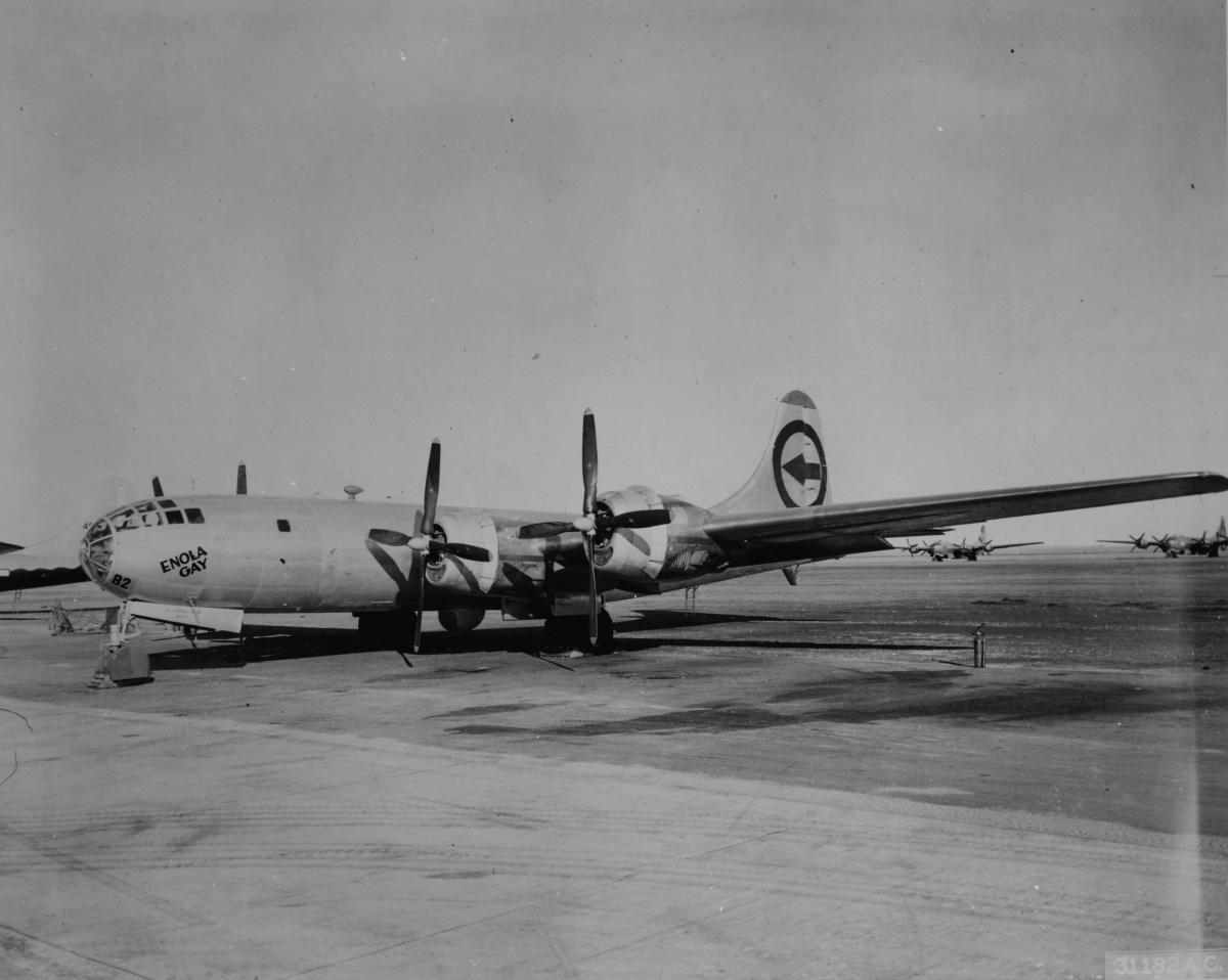 """Enola Gay,"" the Boeing B-29 Superfortress that on August 6, 1945, dropped the world's first atomic bomb on Hiroshima, Japan."