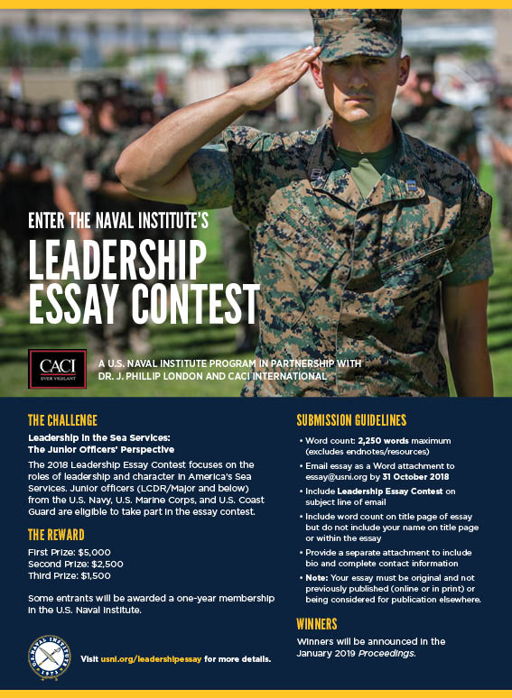 Pmr English Essay Leadership Essay Contest A Us Naval Institute Program In Partnership  With Dr J Phillip London And Caci International A Level English Essay also English Model Essays Leadership Essay Contest  Us Naval Institute Compare And Contrast Essay High School Vs College