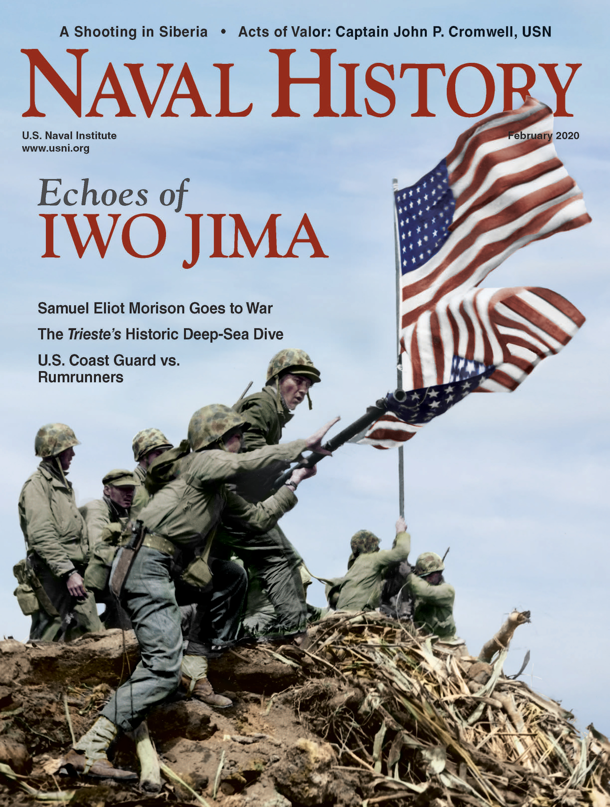 U.S. flags over Iwo Jima's Mount Suribachi grace the cover