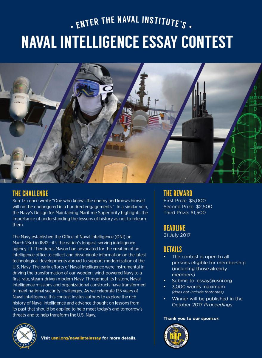 naval intelligence essay contest u s naval institute sponsored the naval intelligence professionals