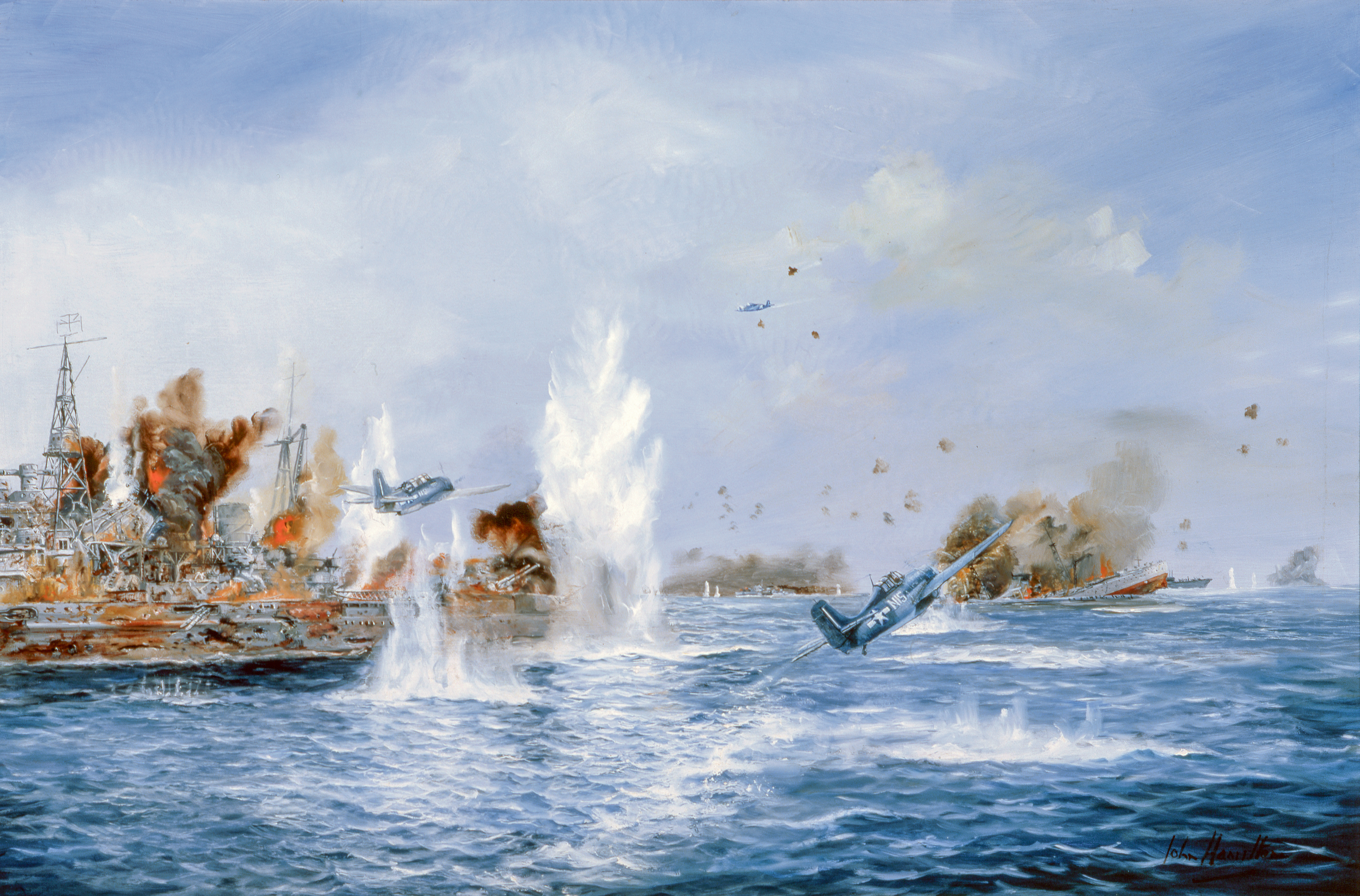 Painting of the Battle off Samar by John Hamilton