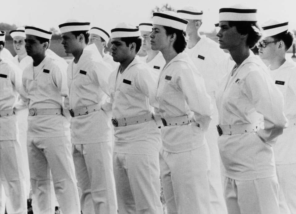 New Midshipmen of the Class of 1980 stand in formation at the Naval Academy.