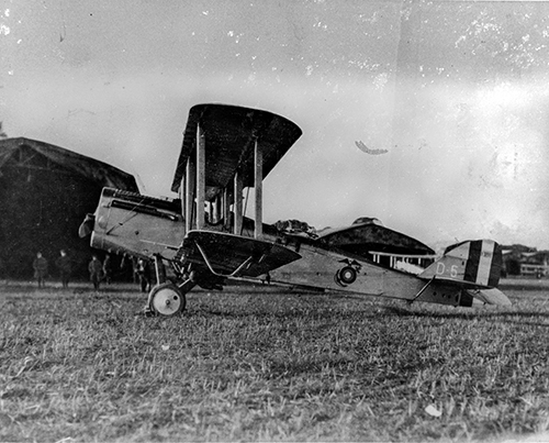 "A Marine Corps DH-4B, nicknamed the ""Flying Coffin"""