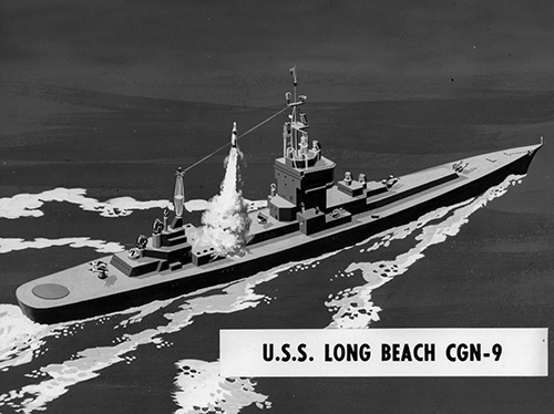 Artist's conception of USS Long Beach (CGN-9) fitted with Polaris missiles.