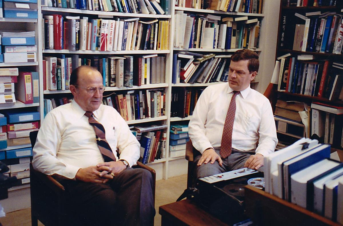 Paul Stillwell and ADM William P. Lawrence, USN (Ret.) recording Lawrence's Oral History