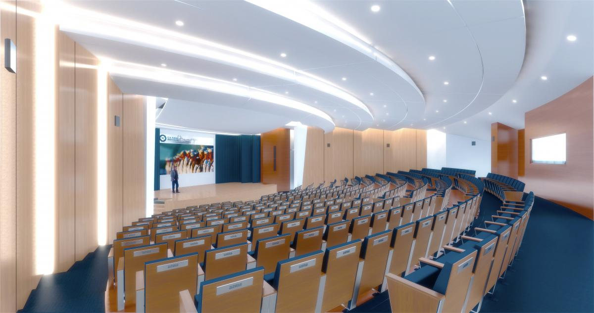 Computer rendering of the auditorium of the Jack C. Taylor Conference Center at the U.S. Naval Institute