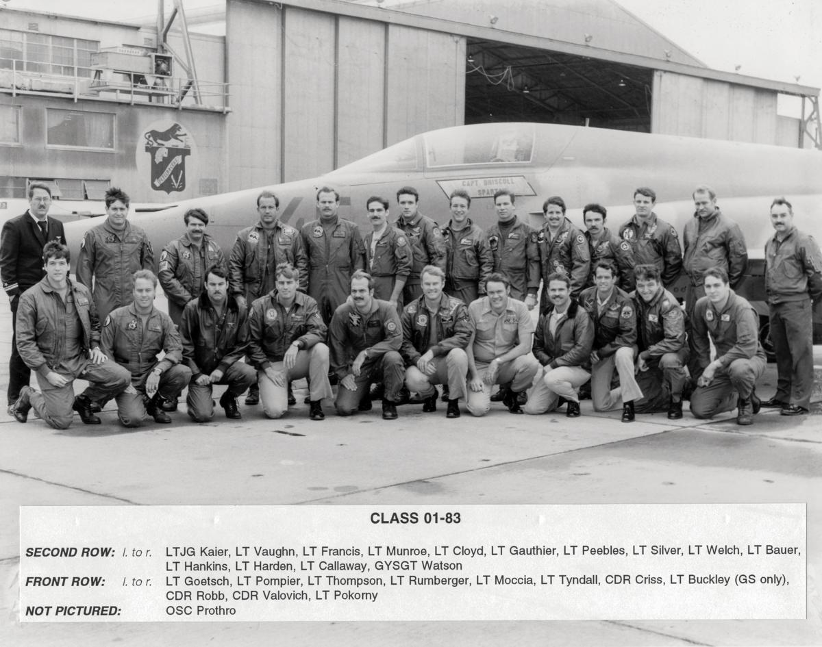 Class 01-83 of TOPGUN posing in front of an aircraft