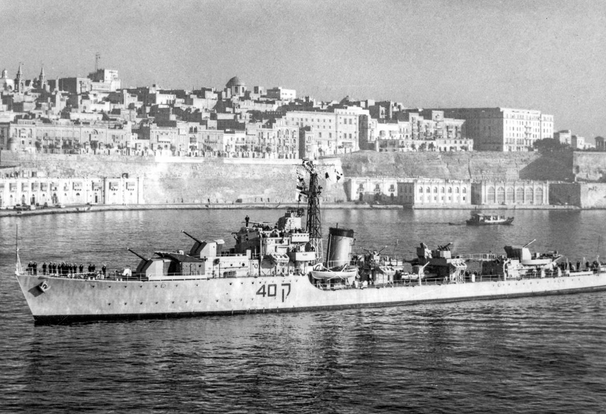Port oblique view of the Israeli destroyer Elath