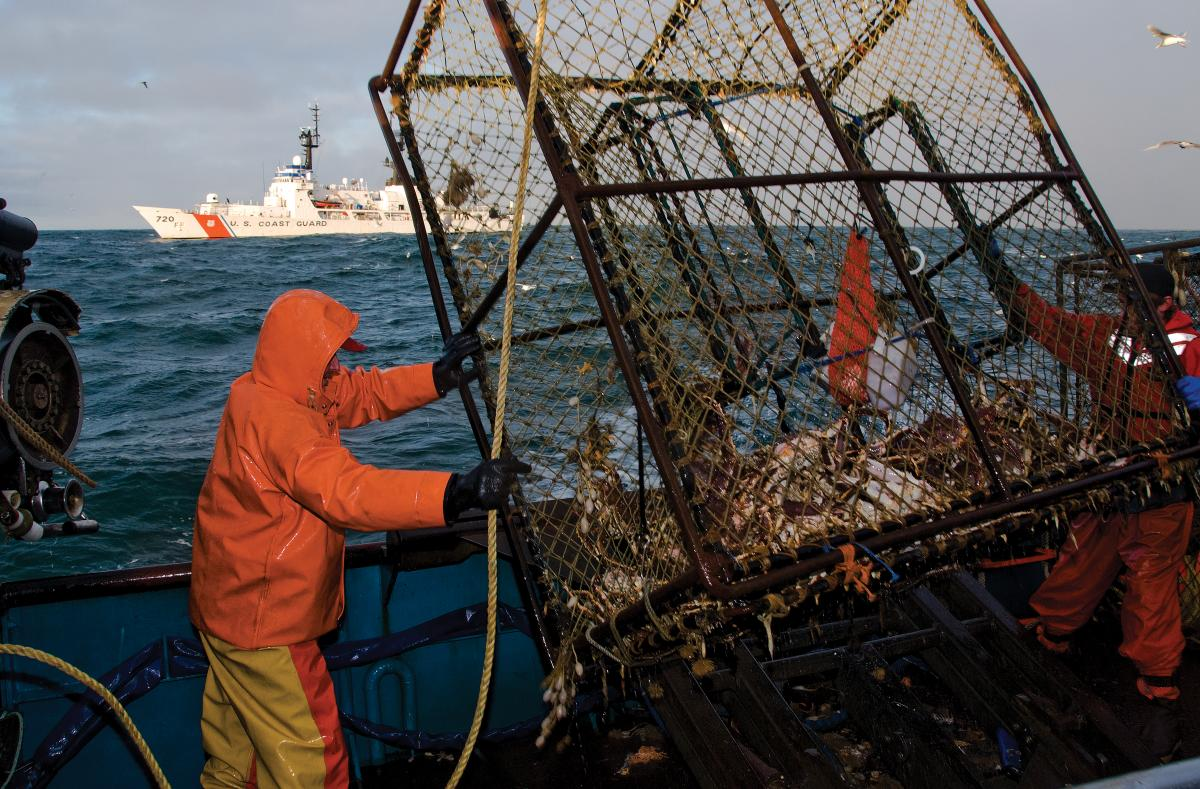 Fisherman unload a crab pot aboard the fishing vessel Gulf Winds during a law enforcement boarding conducted by USCGC Sherman
