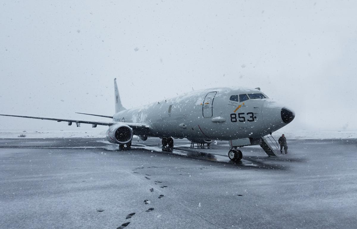 A P-8A Poseidon aircraft assigned to Patrol Squadron (VP) 16, arrives in Keflavik, Iceland, for anti-submarine warfare training.