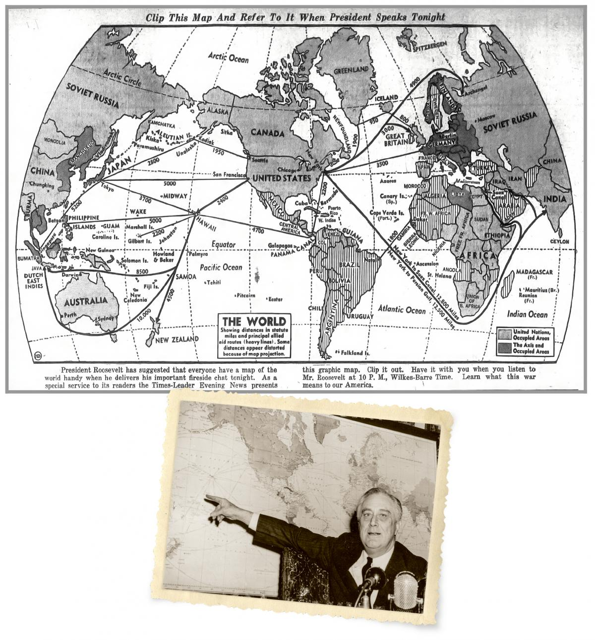 President Roosevelt and World Map