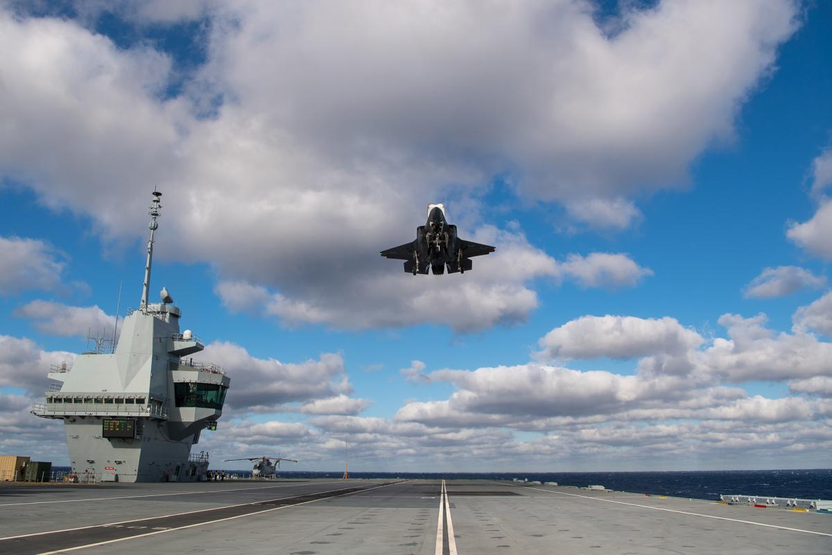 The F-35 Patuxent River Integrated Test Force is testing aboard the Royal Navy aircraft carrier HMS Queen Elizabeth (R08) for phase two of the First of Class flight trails (fixed wing).