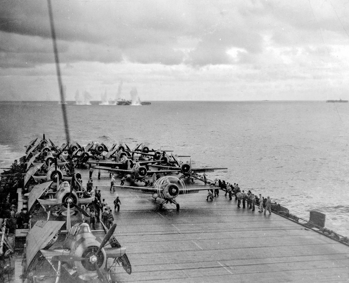 Wildcats take off from the Kitkun Bay (CVE-71) on 25 October 1944