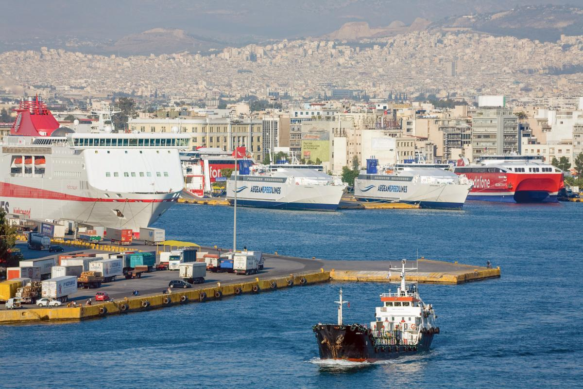 Shipping in the Port of Piraeus, Athens, Greece, Europe