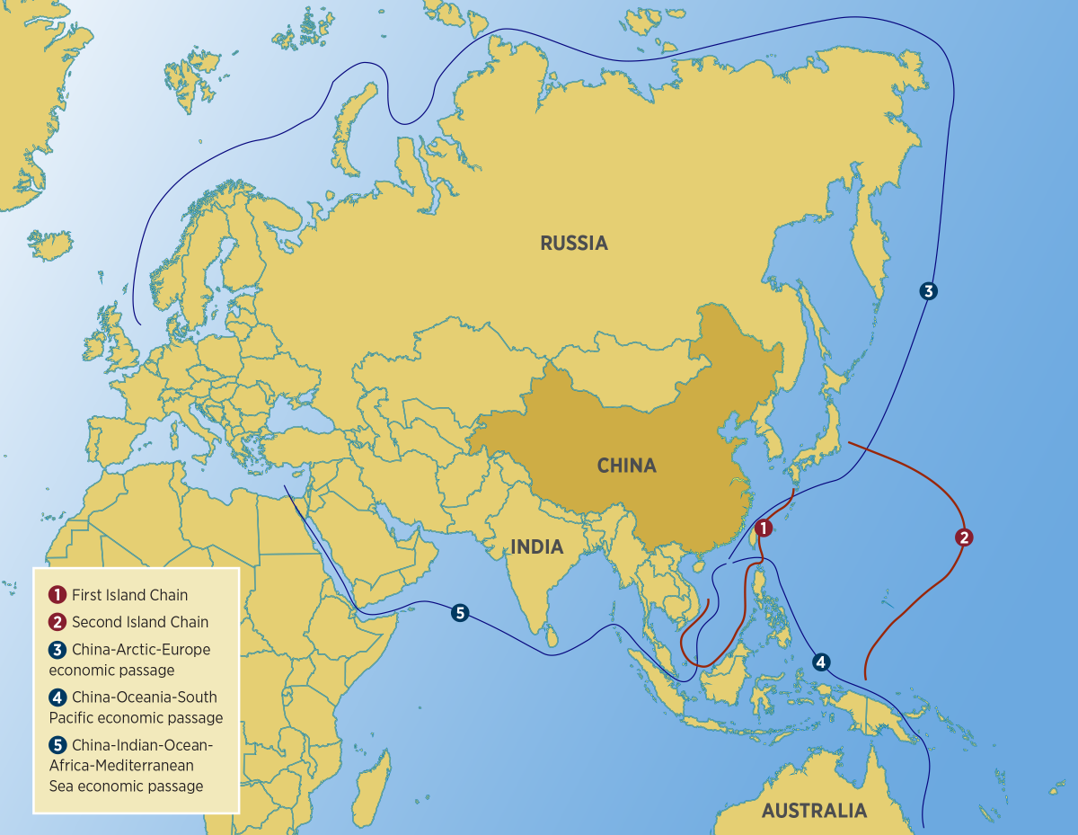Map showing Chinese trade routes
