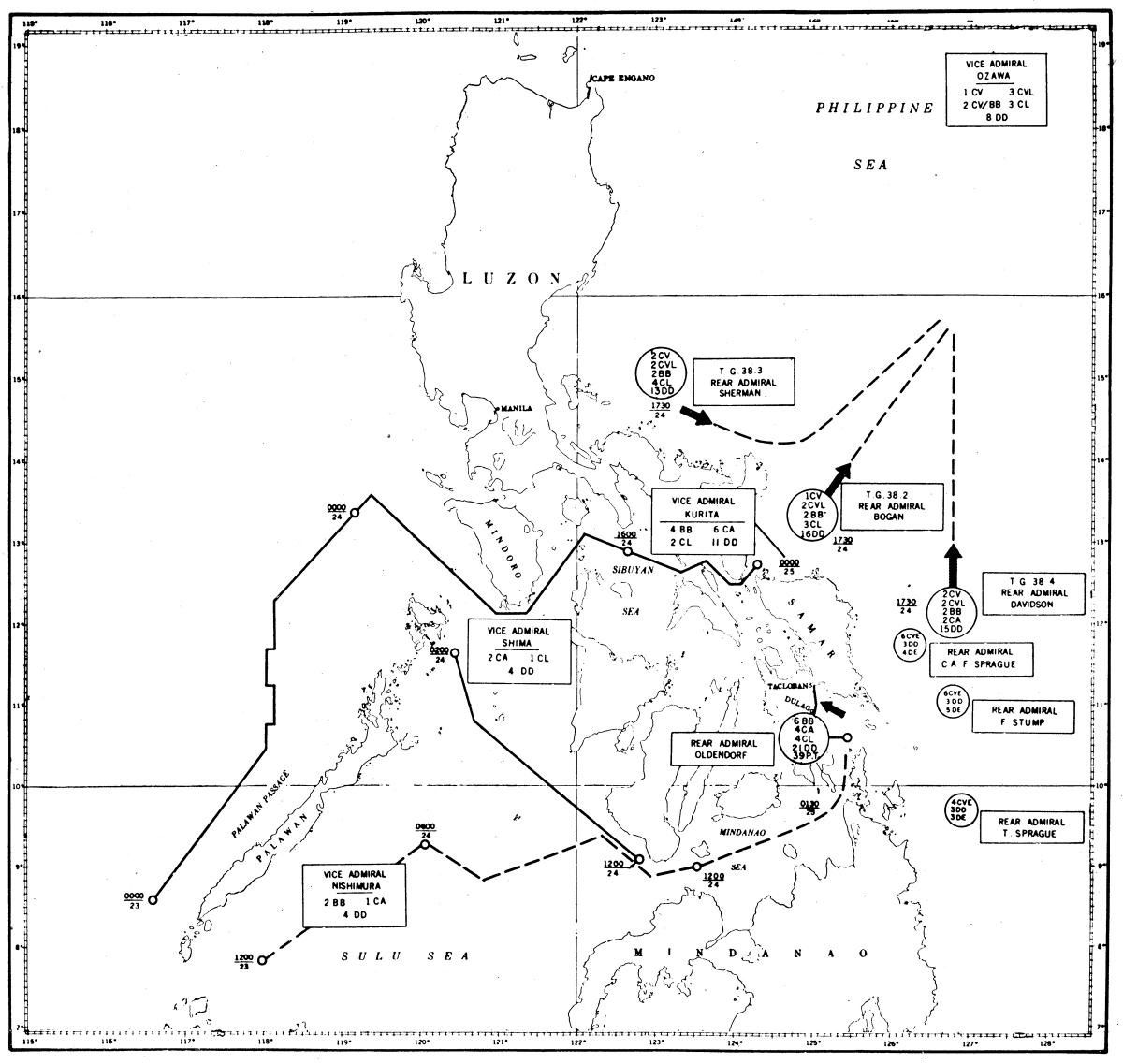 Map of the Battle of Leyte Gulf