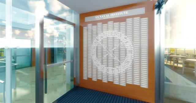 Computer rendering of the donor wall vestibule of the Jack C. Taylor Conference Center at the U.S. Naval Institute
