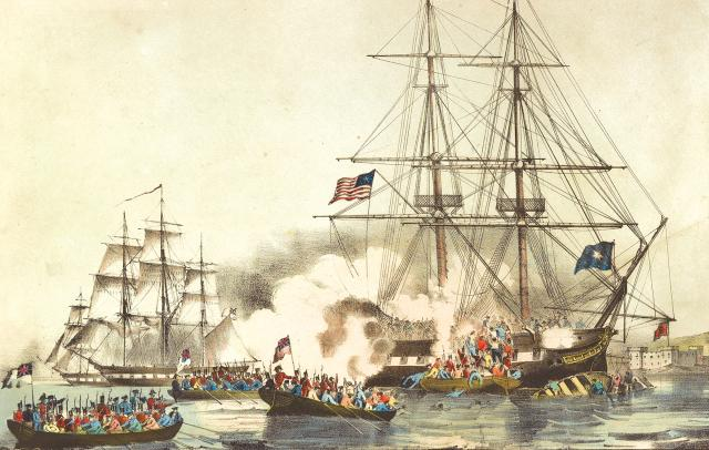A print showing the U.S. privateer General Armstrong under attack by HMS Plantagenet, a 74-gun British ship of the line, in 1814. Though it has been two centuries since the U.S. government issued letters of marque, the prospect of a fight in the western Pacific makes this a good time to reconsider their use