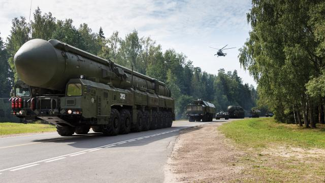 Russia and China are growing and modernizing their strategic nuclear forces. Here, a Russian RS-24 Yars (or Topol-MR) road-mobile intercontinental ballistic missile moves along a highway in Teikovo, Ivanovo region, Russia.