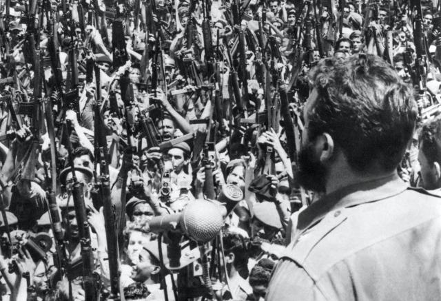 Fidel Castro fires up his foot soldiers in Havana on 16 April 1961, the day before the U.S.-sponsored invasion.