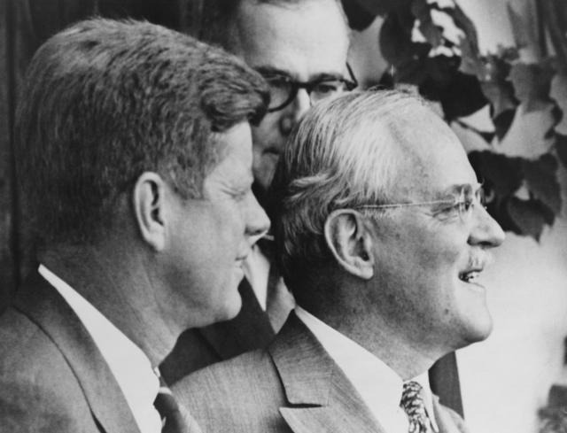 Newly minted President John F. Kennedy decided to retain CIA Director Allen Dulles (right) in his position, but after the Bay of Pigs fiasco, the hitherto-powerful and influential Dulles was forced to resign.