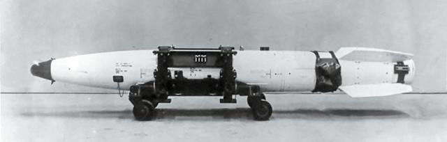 Profile view of a B43 nuclear bomb on a transport cart