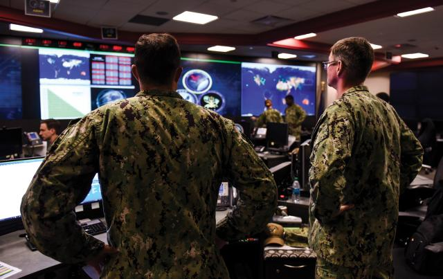 ailors stand watch in the Fleet Operations Center at the headquarters of U.S. Fleet Cyber Command/U.S. 10th Fleet (FCC/C10F)