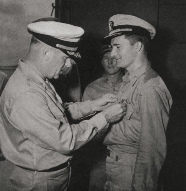 The Halibut earned a Navy Unit Commendation for her actions during her tenth patrol, her resilience under attack, and her crew's efforts to keep the boat alive. The boat's skipper, Lieutenant Commander Ignatius Galantin (right), was awarded the Navy Cross.