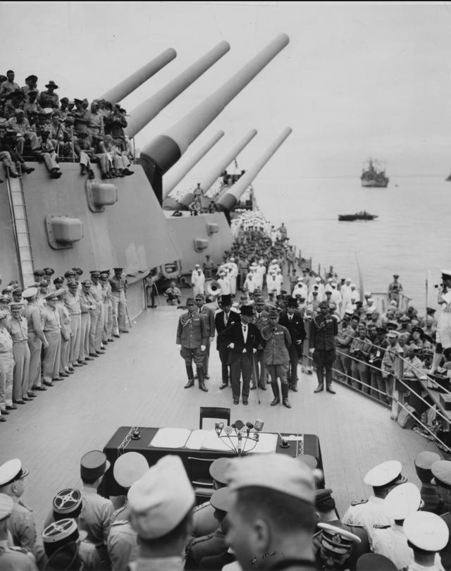 The Japanese surrender delegation boards the Missouri for the ceremony marking the end of World War II. It was the first time Japan had surrendered to a foreign foe in more than 2,000 years.