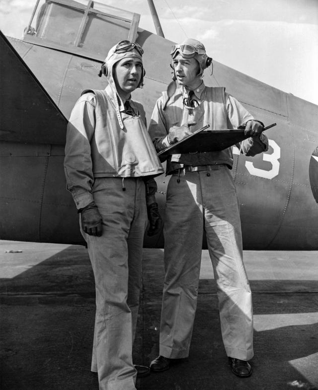 "Commander Thach, right, posed with Lieutenant Edward H. ""Butch"" O'Hare, on 10 April 1942 at Naval Air Station Kaneohe, Oahu, Hawai"
