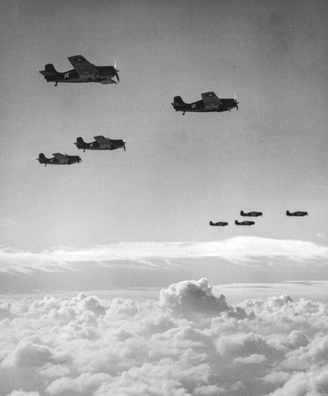 F4F Wildcats flying in formation