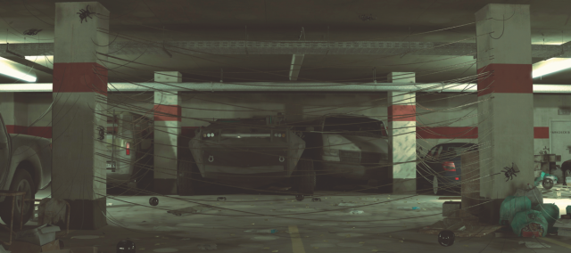 Illustration of a future war showing the interior of a parking garage with booby traps
