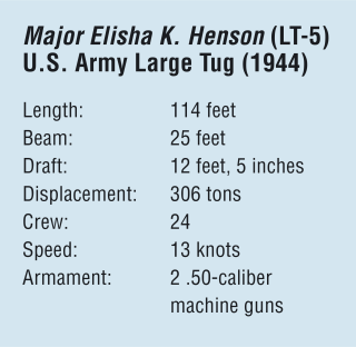 Major Elisha K. Henson (LT-5)  U.S. Army Large Tug (1944) Length:	114 feet Beam:	25 feet Draft:	12 feet, 5 inches Displacement:	306 tons Crew:	24 Speed:	13 knots Armament:	2 .50-caliber  	machine guns