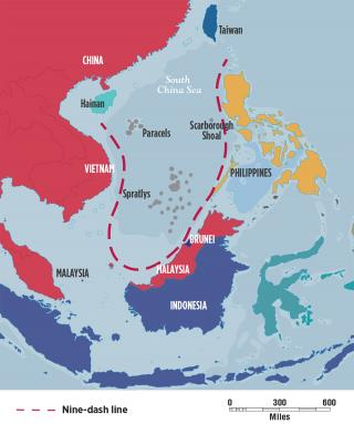 Map of the nine-dash line south china sea