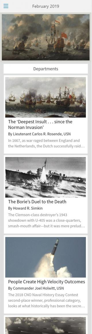 Mobile Home Screen - Naval History App