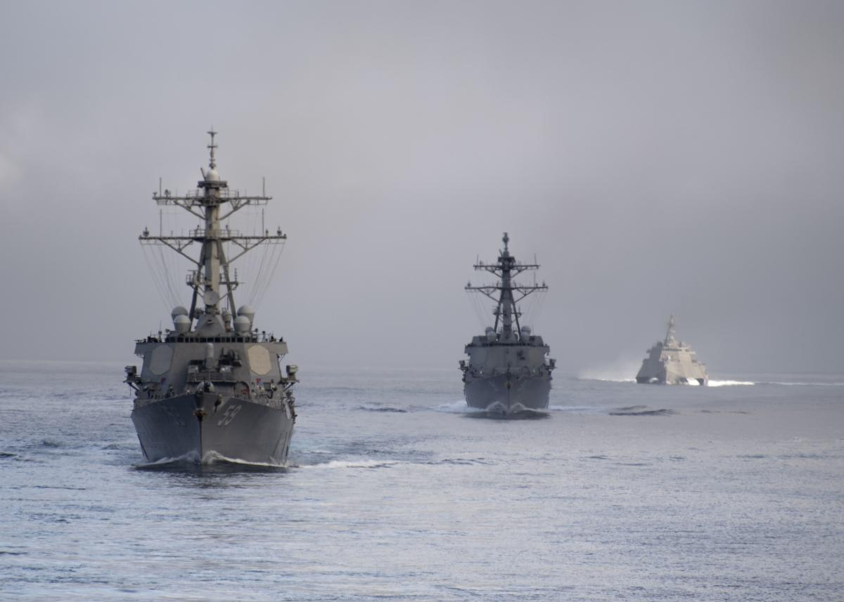 Destroyers steaming