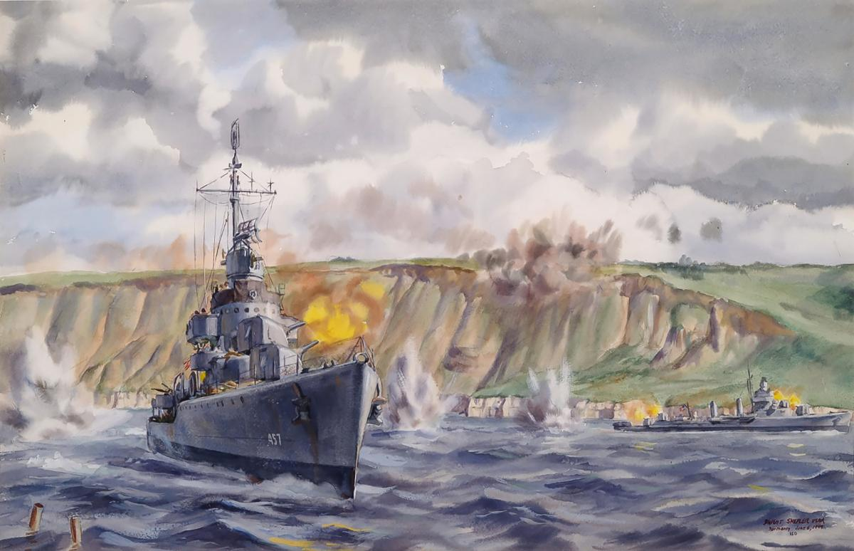 USS Emmons (DD-457) shelling the Normandy Coast