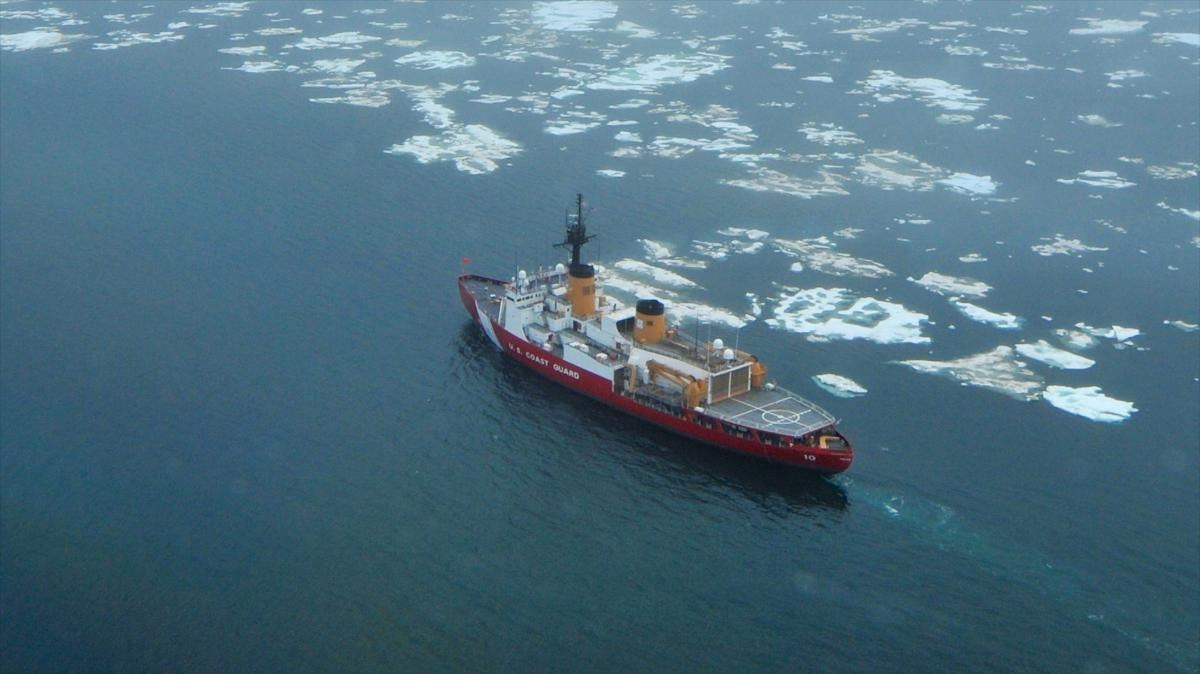 The USCGC Polar Star (WAGB-10) transits near the beginning of the ice edge in the Chukchi Sea north of Wainwright Alaska.