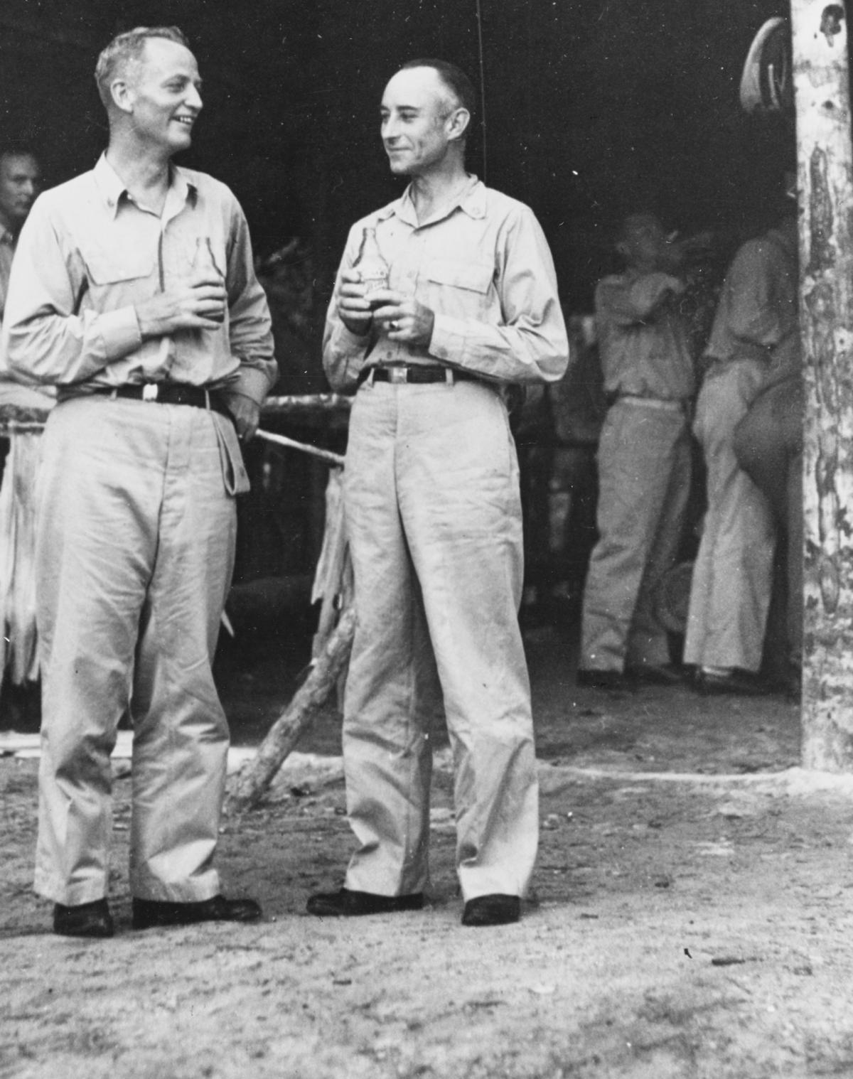 Captains Arleigh Burke (left) and Bernard Austin in the World War II Pacific