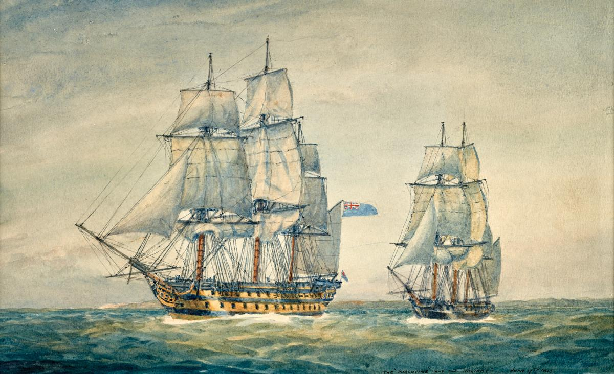 The American Ship Porcupine and the HMS Valiant, 17 June 1813