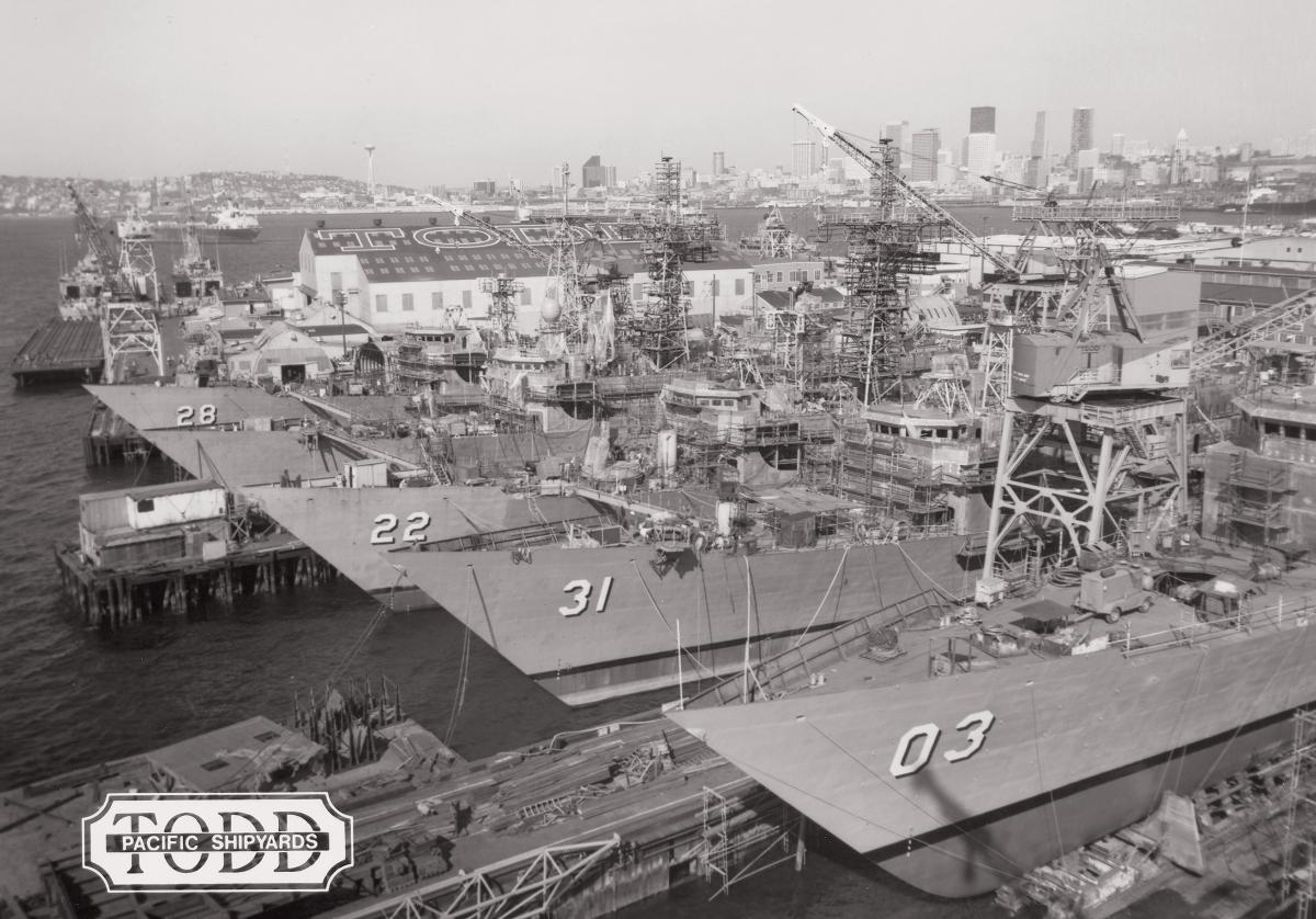 Todd Pacific Shipyards Corporation, based in Seattle, Washington, built more than 130 ships from 1917 to 1989, including the USS Stark (FFG-31), Fahrion (FFG-22), and Boone (FFG-28). Shipbuilding has its own unique terminology, from decks to stanchions  to screw guards.