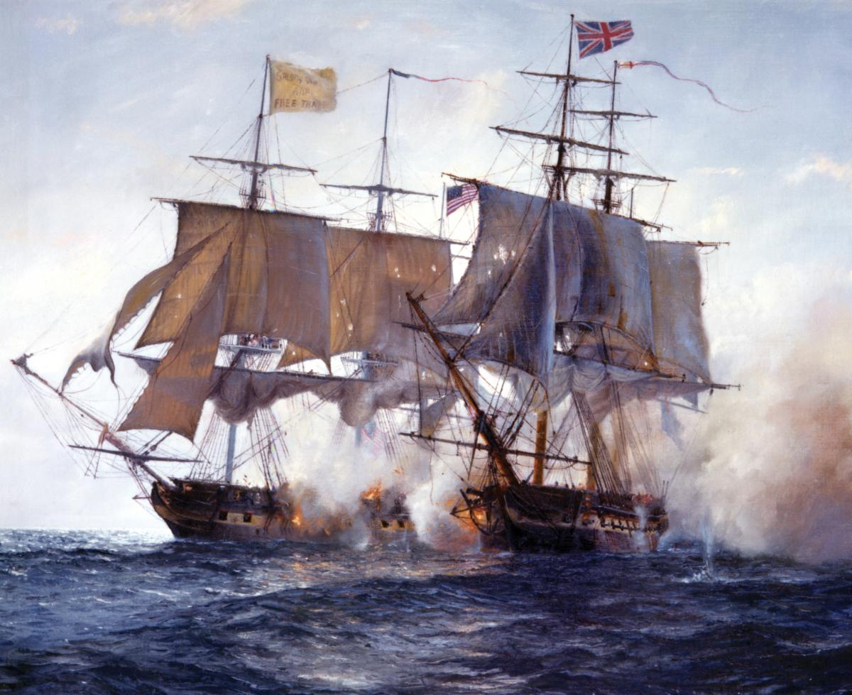"HMS Shannon and the USS Chesapeake exchange broadsides during their 15-minute battle on 1 June 1813 in Robin Brook's painting ""Duel off Cape Anne."""