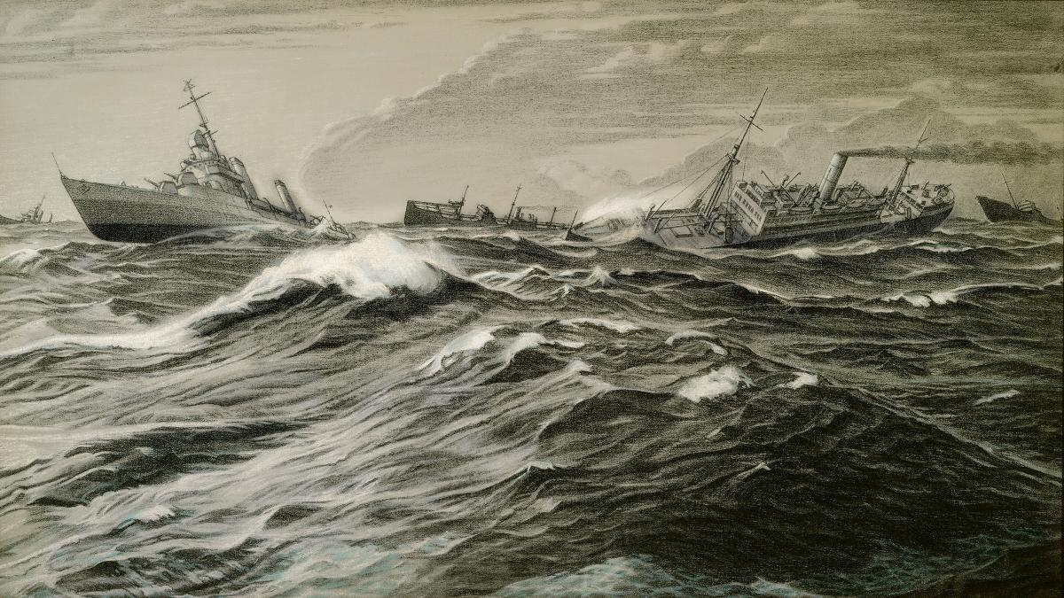 A destroyer leads transports through heavy seas in Lieutenant Commander Griffith Baily Coale's Convoy off Iceland—Increasing Gale. Coale's first assignment as a U.S. Navy combat artist was in the North Atlantic.