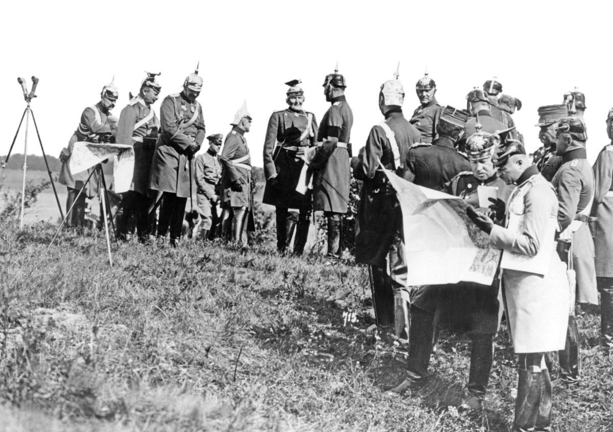 Kaiser Wilhelm II and the German General Staff attend an army maneuver in 1913.