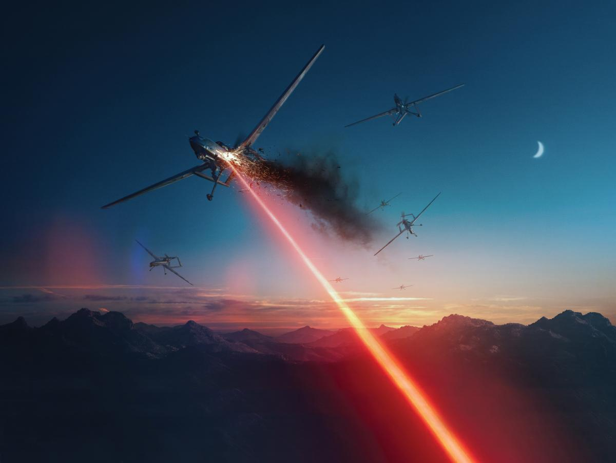 Concept art of a directed-energy weapon shooting down a UAV