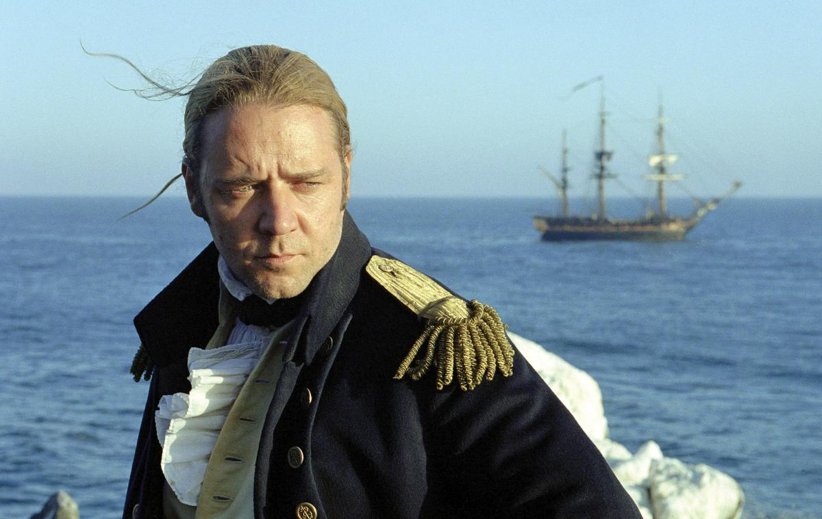 "Russell Crowe as Captain ""Lucky"" Jack Aubrey in the film ""Master and Commander: The Far Side of the World"""