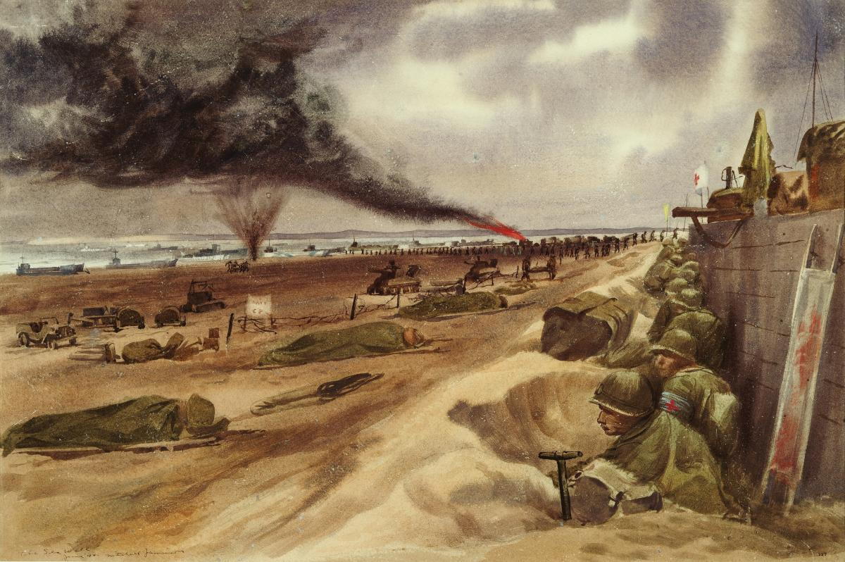 The Sea Wall At the Eastern American Beach (Utah Beach) by Navy combat artist Mitchell Jamieson
