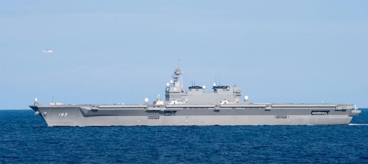 JS Izumo transits the South China Sea while doing maritime operations with a U.S. surface action group.